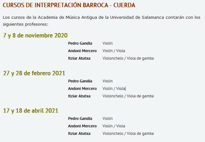 Cursos de interpretación barroca - cuerda en Salamanca