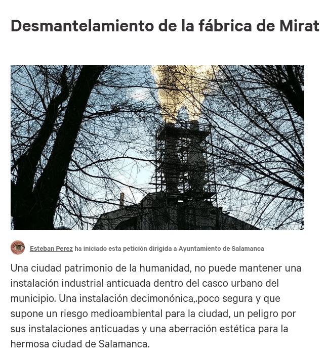 Firma la petición fábrica de Mirat