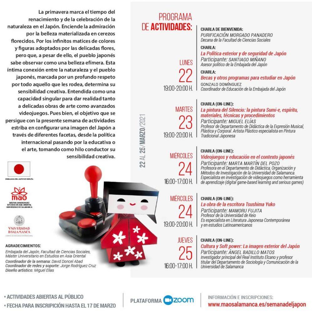 Programa de la semana de Japon en Salamanca