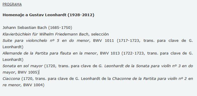 Programa del concierto Homenaje a Gustav Leondhardt