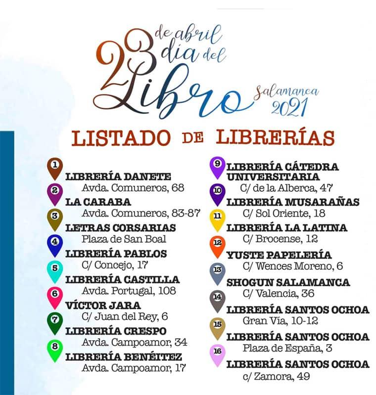 Día del libro Salamanca 23 abril 2021. Listado de Librerías