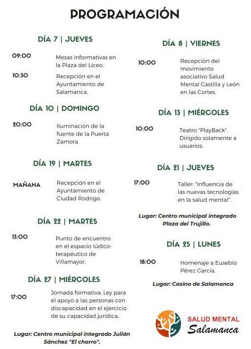 Programación Día mundial de la salud mental en Salamanca