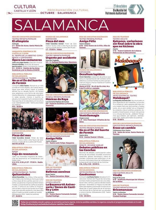 Programación cultural CYL. Octubre Salamanca. Programa 1
